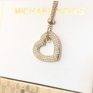 NWT authentic MK gold tone pave heart pendant